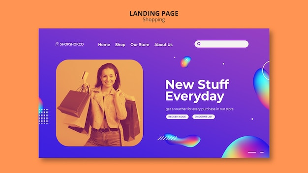 Landing page shopping ad template