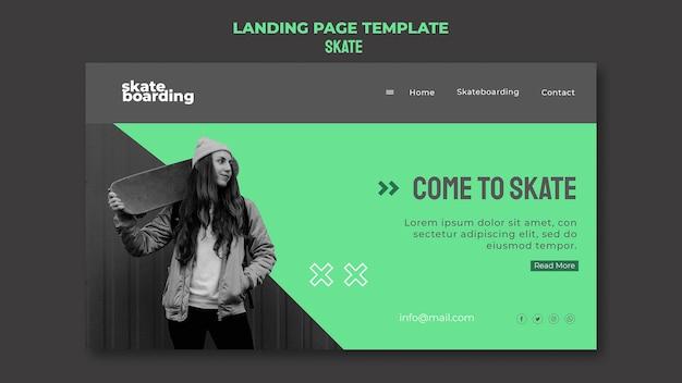 Landing page for skateboarding with female skateboarder