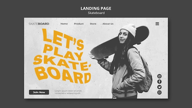 Landing page for skateboarding with woman
