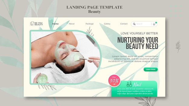 Landing page for skincare and beauty with woman