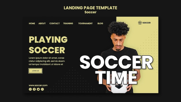 Landing page for soccer with male player