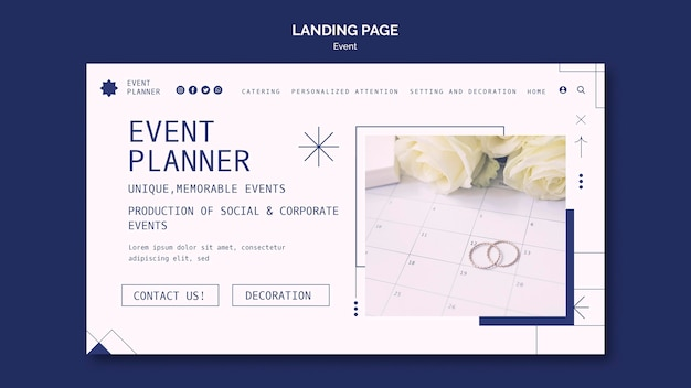 Landing page for social and corporate event planning