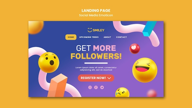 Landing page for social media app emoticons