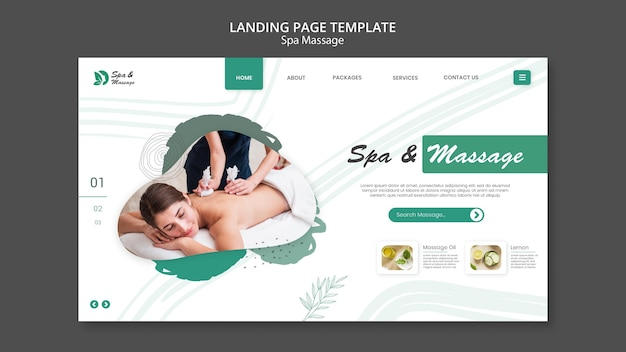 Landing page for spa massage with woman