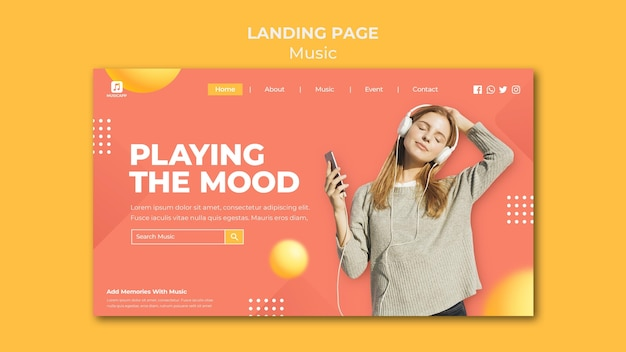 Landing page for streaming music online with woman wearing headphones