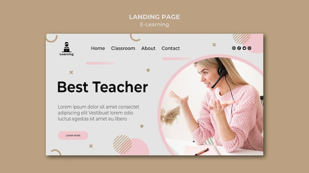 Landing page style e-learning concept