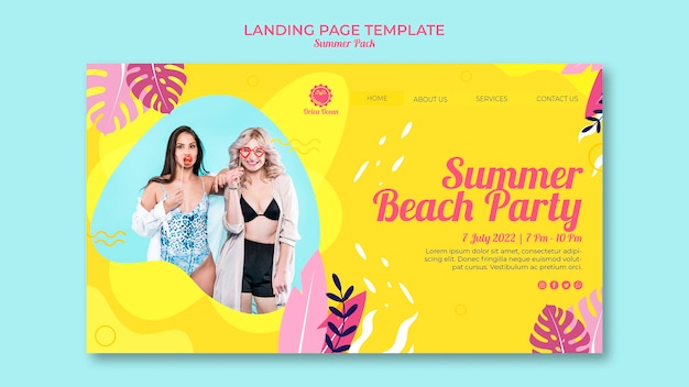 Landing page for summer beach party