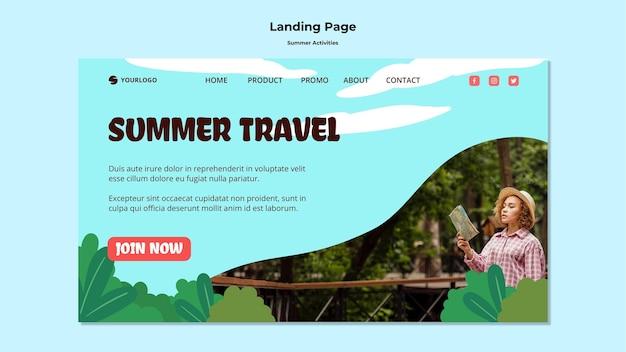 Modello di viaggio estivo della pagina di destinazione