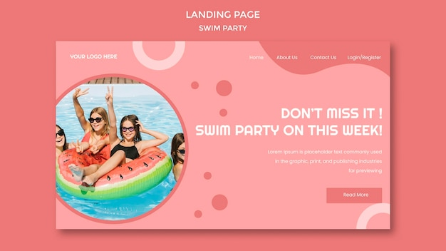 Modello di festa di nuoto della pagina di destinazione