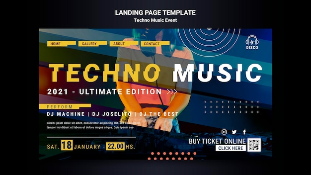 Landing page for techno music night party