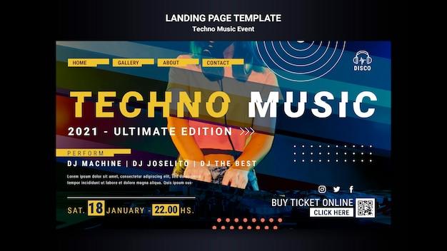 Pagina di destinazione per la festa notturna di musica techno