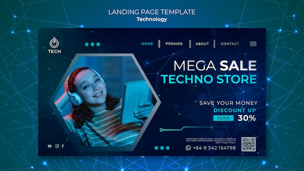 Landing page for techno store
