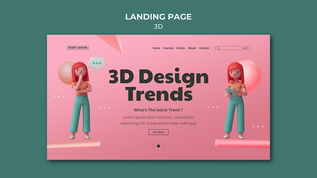 Landing page template for 3d design with woman