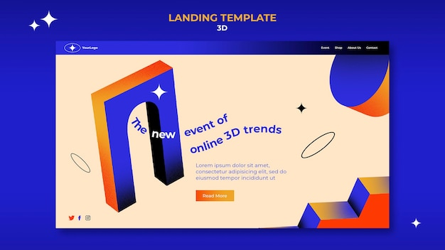 Landing page template for 3d trends