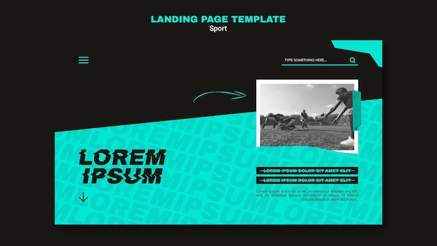 Landing page template for american football game