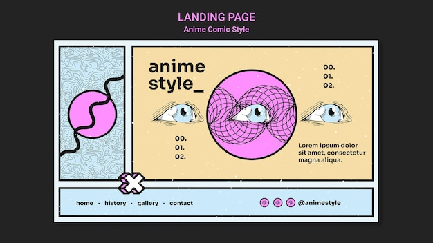 Landing page template in anime comic style