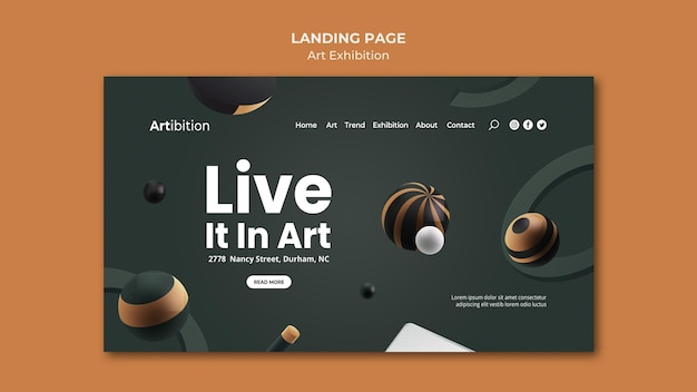 Landing page template for art exhibition with geometric shapes