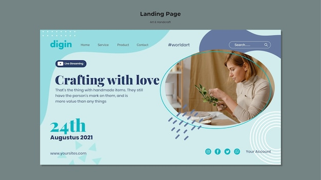 Landing page template for art and handcrafts