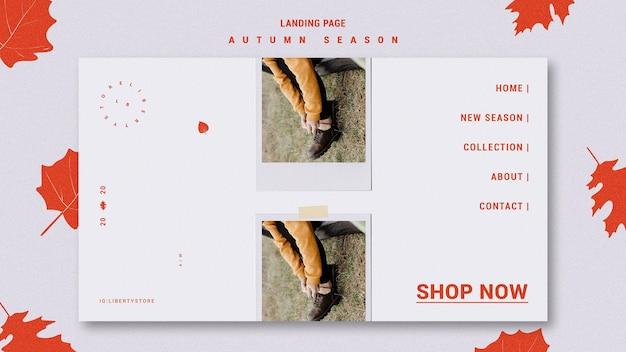 Landing page template for autumn new clothing collection