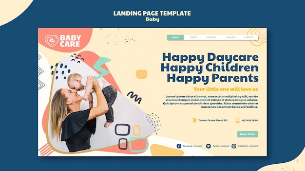 Landing page template for baby care professionals