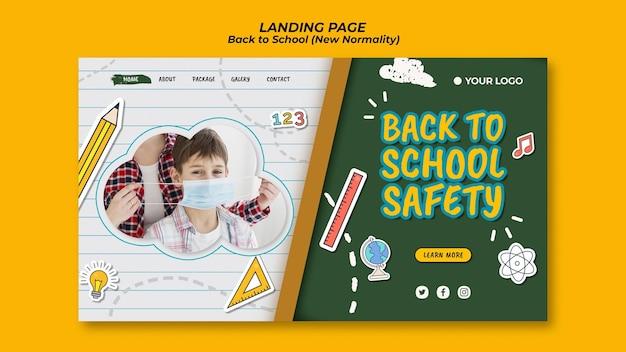 Modello di pagina di destinazione per tornare alla stagione scolastica