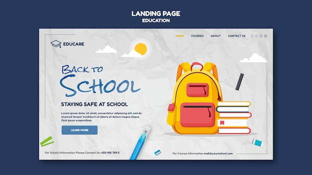 Landing page template for back to school