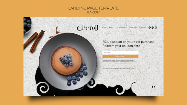 Landing page template for bakery shop