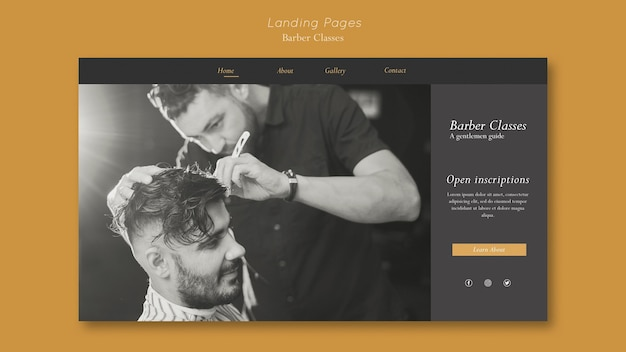 Landing page template for barber classes