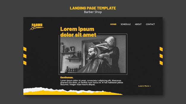 Landing page template for barber shop business