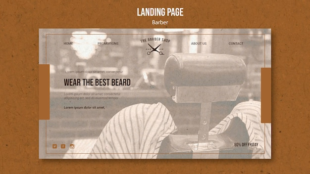 Landing page template for barber shop