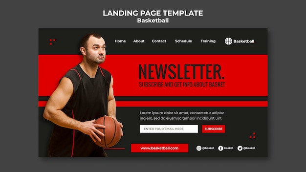 Landing page template for basketball game with male player