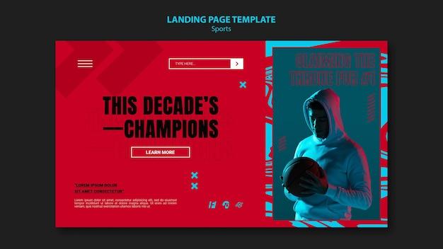 Modello di pagina di destinazione per la partita di basket