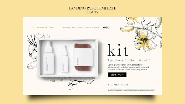 Landing page template for beauty products with hand drawn flowers