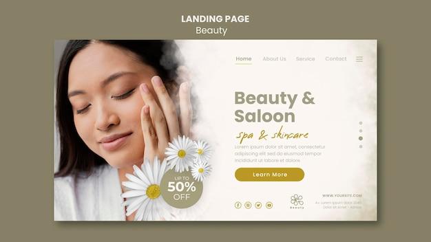 Modello di pagina di destinazione per bellezza e spa con donna e fiori di camomilla