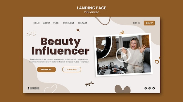 Landing page template for beauty vlogger with young woman
