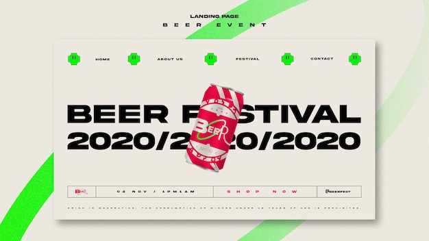 Landing page template for beer festival