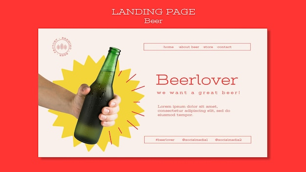 Landing page template for beer lovers