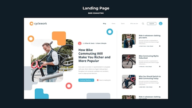 Landing page template for bicycle commuting with male passenger