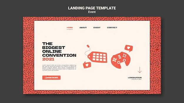 Modello di pagina di destinazione per la più grande convezione online 2021