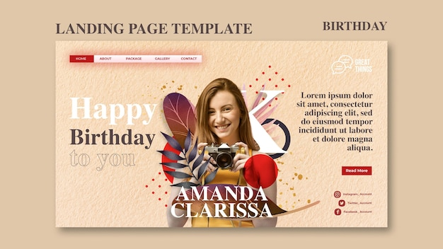 Landing page template for birthday anniversary celebration