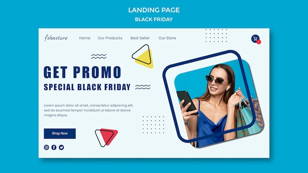 Landing page template for black friday with woman and triangles