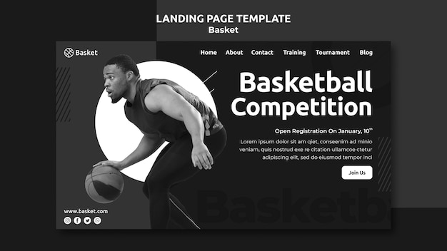 Landing page template in black and white with male basketball athlete