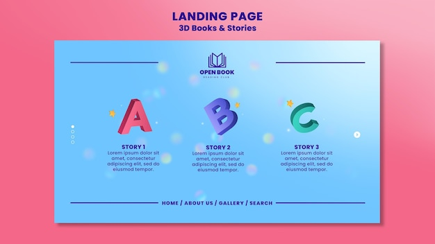 Landing page template for books with stories and letters