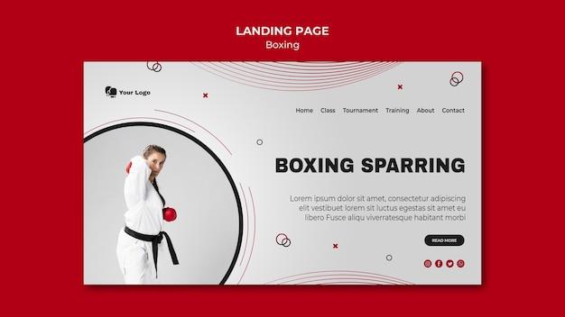 Modello di pagina di destinazione per l'allenamento di boxe