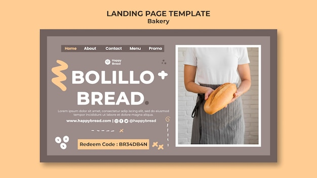 Landing page template for bread shop