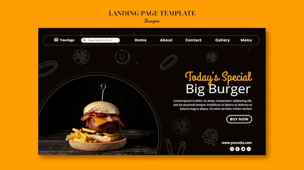 Landing page template for burger bistro