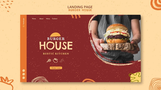 Landing page template burger house