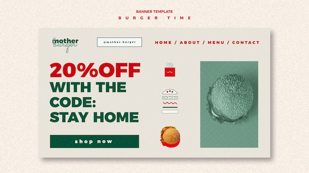 Landing page template for burger restaurant