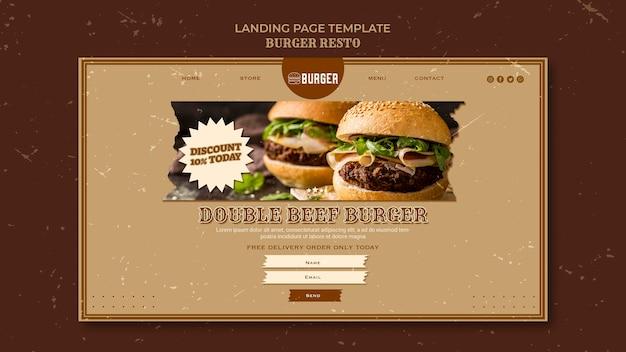 Landing page templatefor burger restaurant
