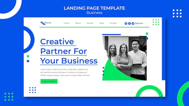 Landing page template for business solution with monochrome photo